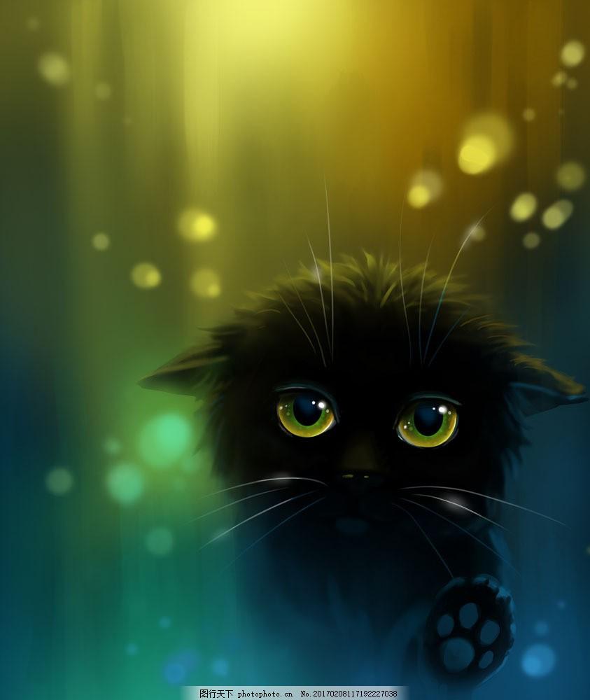 黑色卡通小猫图片