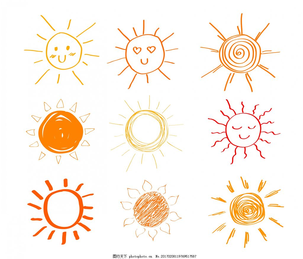 可爱手绘涂鸦太阳 太阳图标