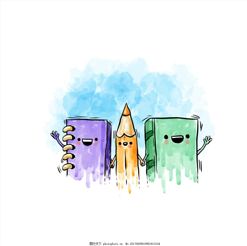 开学季矢量手绘水彩元素