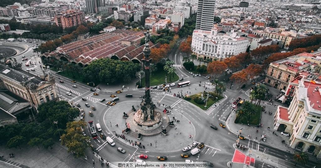 城市大转盘 西方建筑 欧式建筑 房子 城市群 路口 俯视 向下看