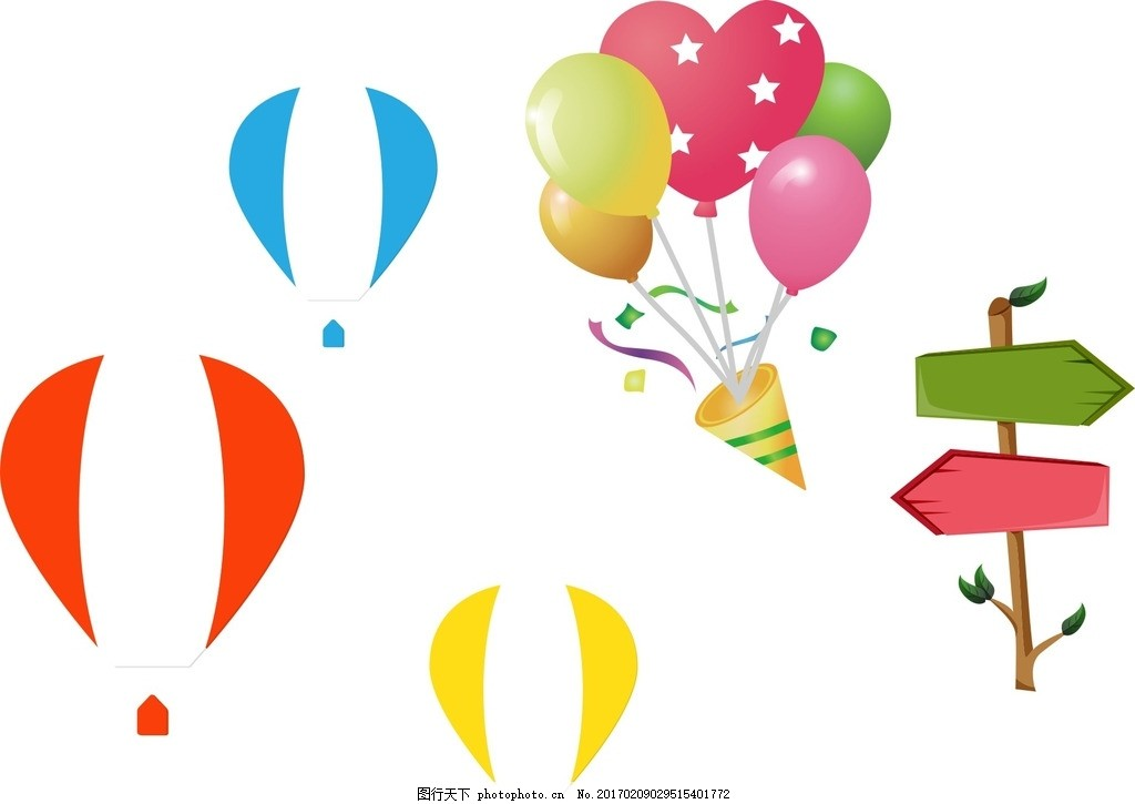指示牌 热气球 可爱 手绘素材 儿童素材 幼儿园素材 卡通素材