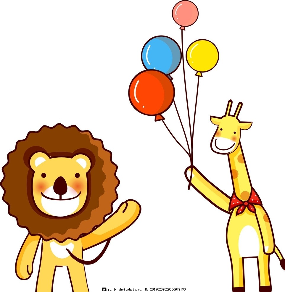 手绘 装饰素材 可爱卡通动物 卡通动物 矢量动物 动物素材 长颈鹿