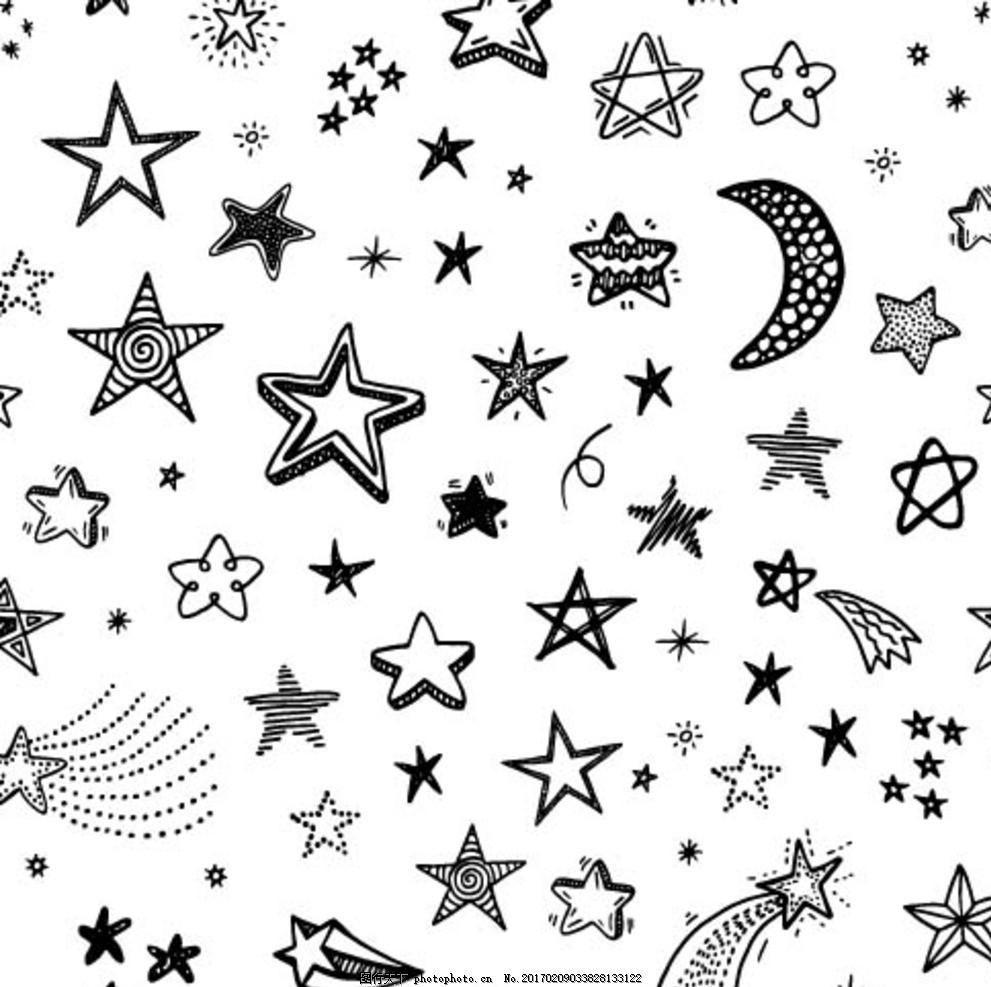 手绘星空 星轨 星星 月亮 慧星 手绘元素 图片素材