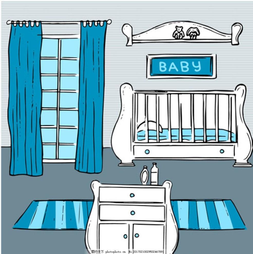 手绘母婴店儿童宝宝房间 宝贝 婴儿 孩子 幼儿园 小学生 中学生