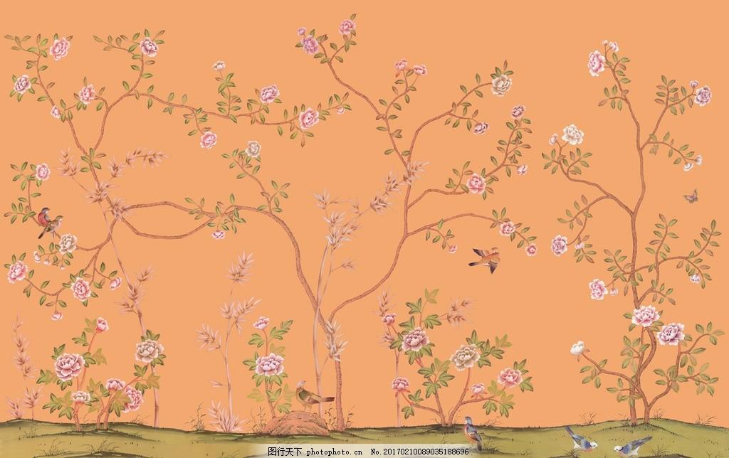 怀旧 时尚 抽象树叶 风景壁画 山水壁画 中堂壁画 客厅壁画 幼儿园