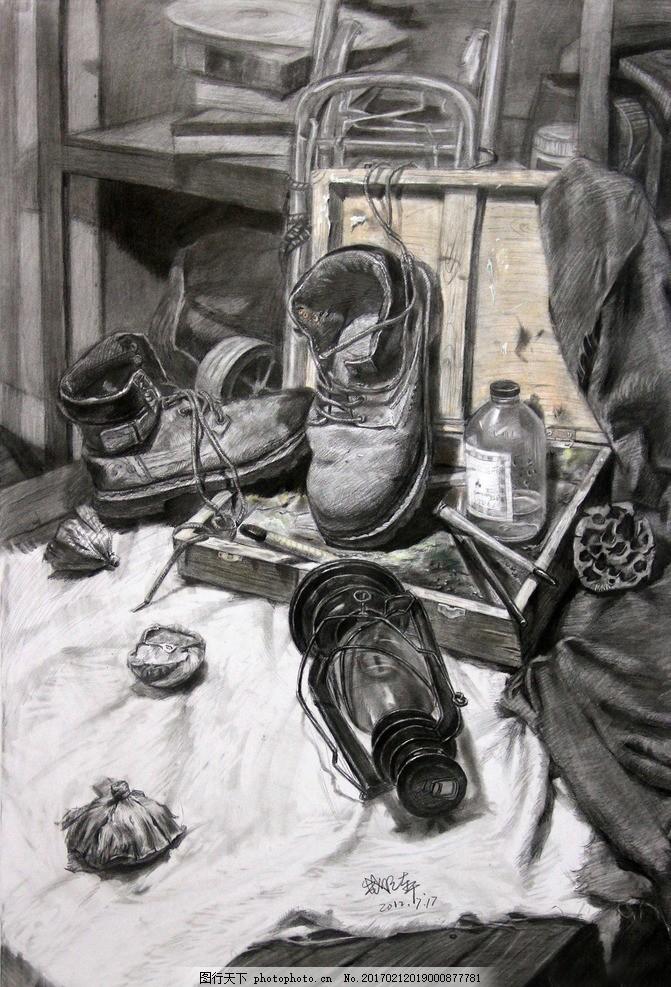 素描 素描静物 静物素描 素描作品 鞋子 瓶子 艺术绘画 设计 文化艺术