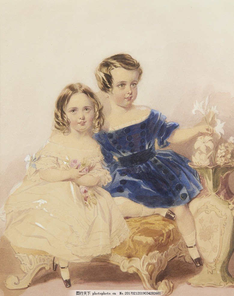 小兄妹 贵族之家 小姑娘 白色连衣裙 百合花 19世纪水彩画 水彩画
