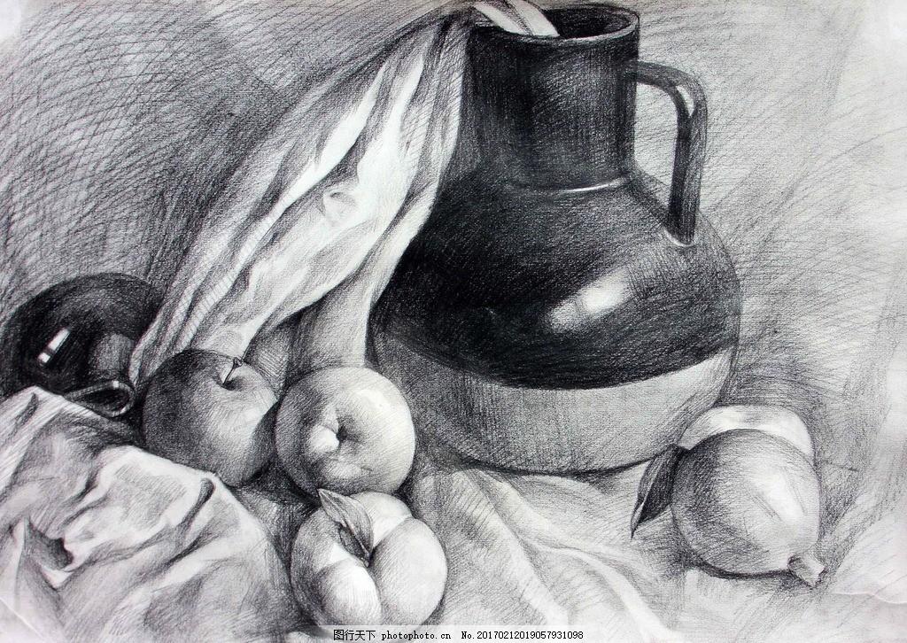 素描 素描静物 静物素描 素描作品 罐子 苹果 艺术绘画 设计 文化艺术