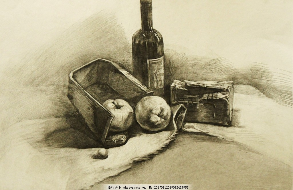 素描 素描静物 静物素描 素描作品 瓶子 面包 水果 艺术绘画 设计