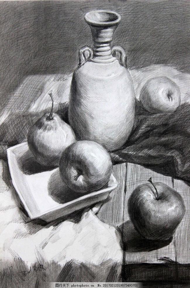 素描 素描静物 静物素描 素描作品 罐子 苹果 盘子 艺术绘画 设计