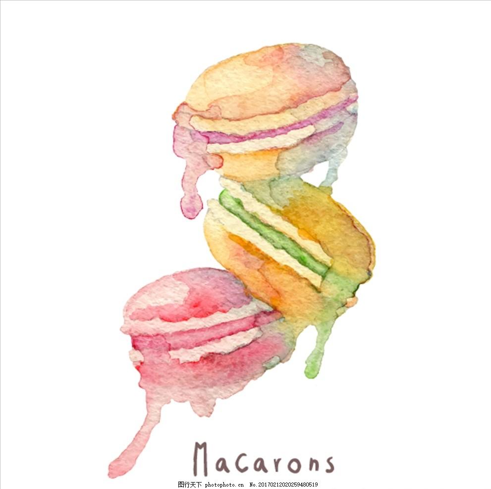 马卡龙水墨画 甜品 糕点 甜甜圈 马卡龙 彩色 手绘 水彩 水彩画 设计