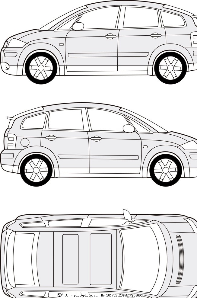 后视图 左视图 右视图 顶视图 平面视图 奥迪a4 汽车透视线条 三维