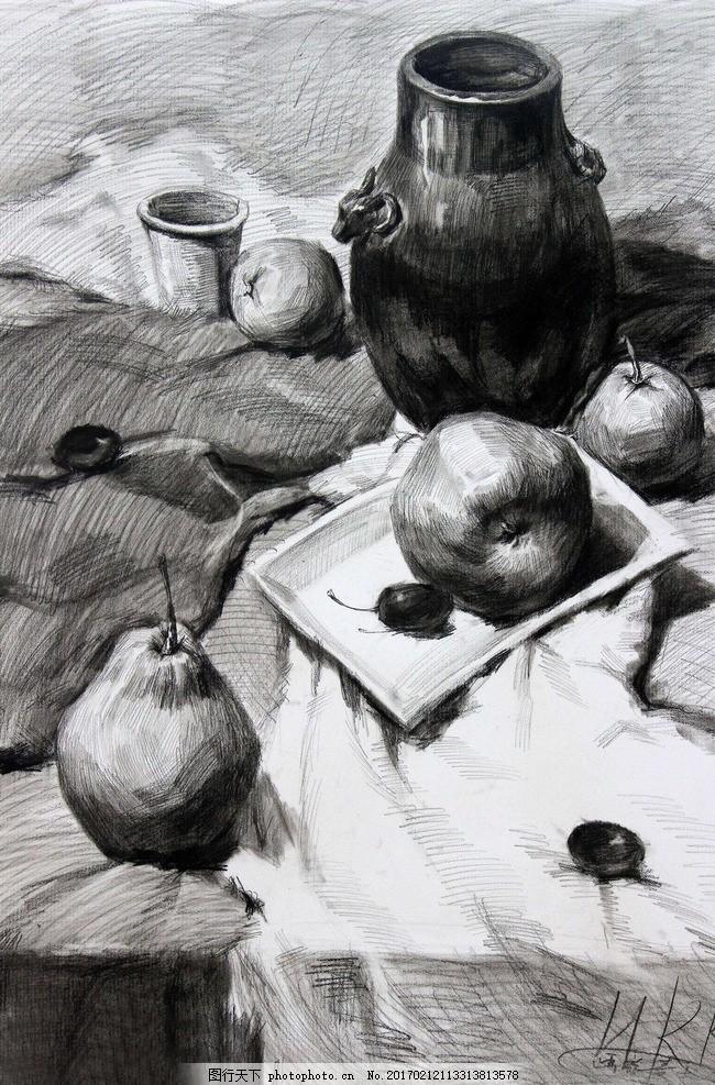 素描 素描静物 静物素描 素描作品 罐子 水果 盘子 艺术绘画 设计