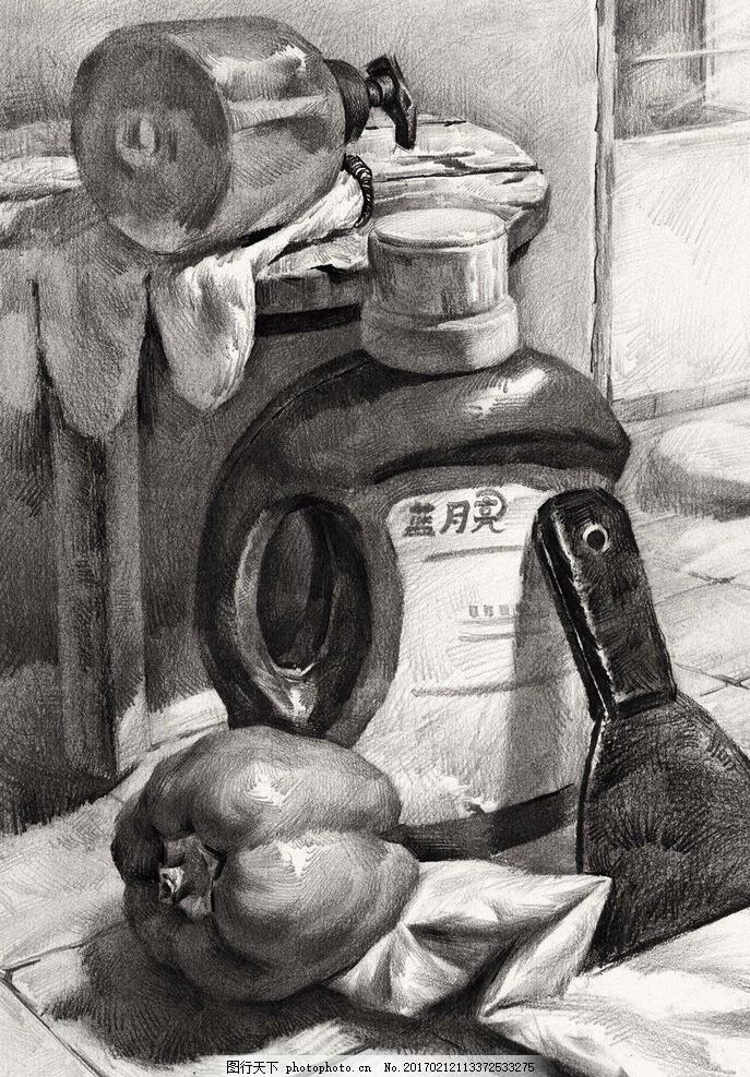 素描 素描静物 静物素描 素描作品 洗衣液 辣椒 艺术绘画 文化艺术