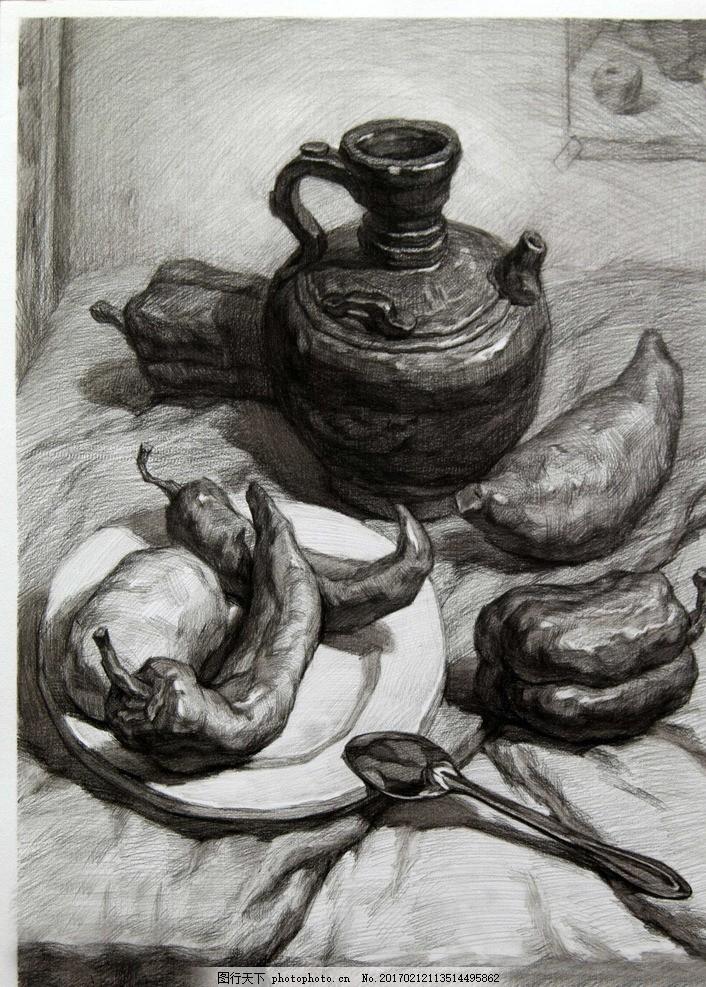 静物素描 素描静物 素描作品 茶壶 辣椒 盘子 艺术绘画 文化艺术