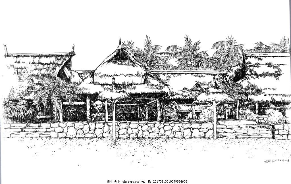 泰国海景建筑 手绘 沙滩 速写