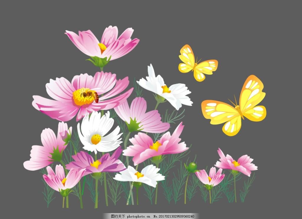 矢量 梦幻花卉 矢量花朵素材 时尚 唯美 炫丽 潮流 韩国 春天花朵素材