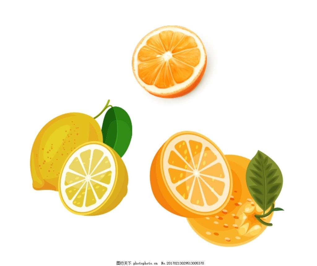 柠檬 橙子 水果主题 手绘水果 矢量 水果素材 新鲜水果 矢量水果素材