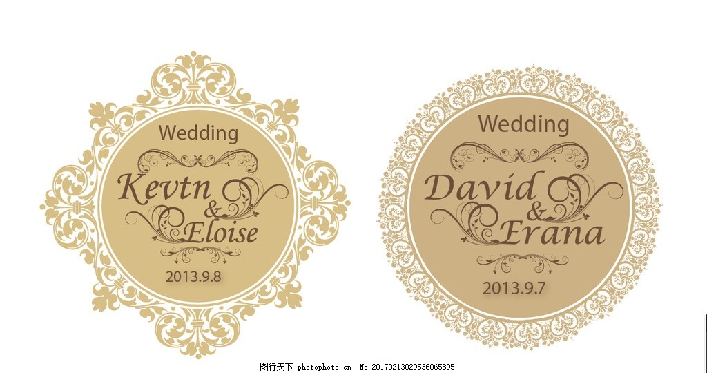婚礼logo 主题 蕾丝边 英文字母圆 婚礼设计 欧式婚礼标志