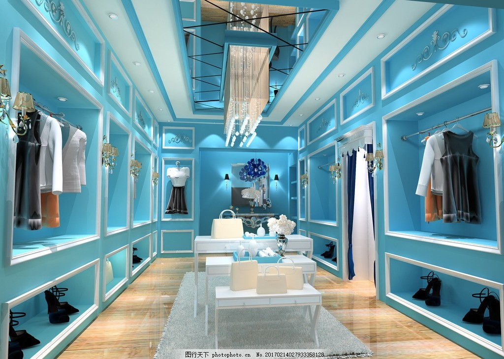 服装店设计 蓝色 欧式 现代