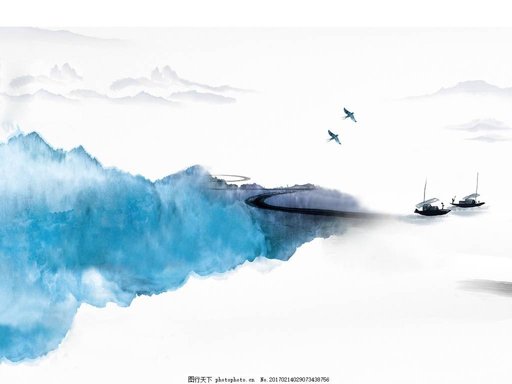 抽象水墨山水新中式背景墙 现代 简约 中国风 水墨画 国画 壁纸图片