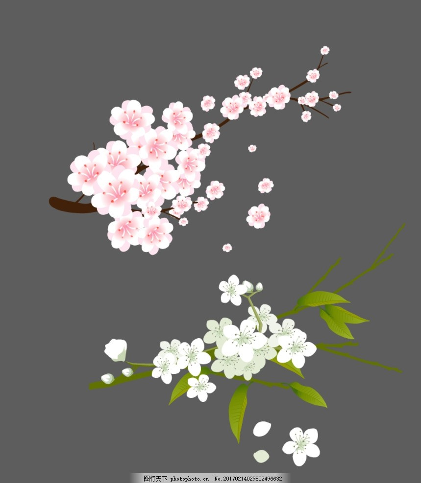 桃树 花 桃花树 粉色花 花枝 桃花枝 矢量素材 手绘桃花 春天素材