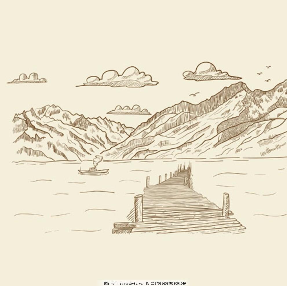 手绘素材 矢量图 田野 美景 乡下 农村 线描 树 港口 风车 云朵 房子