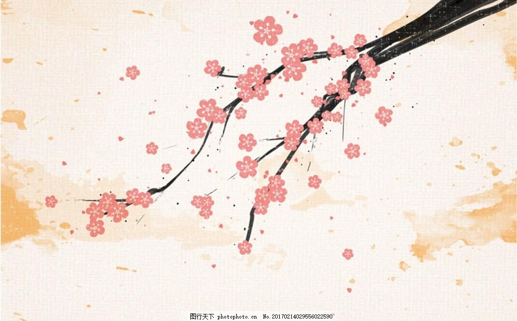 特种纸手绘樱花背景
