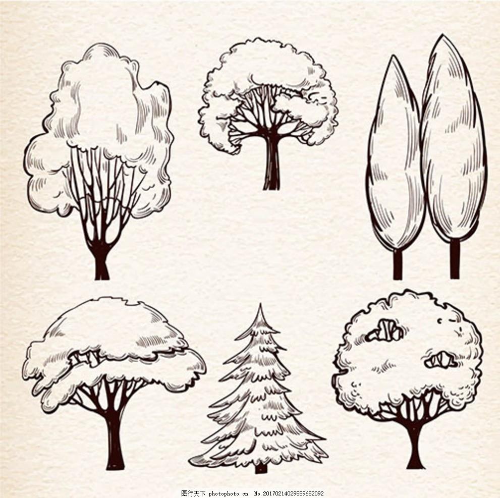 手绘素描树木集 水彩树木矢量 素材下载 松树 枯树 植物 矢量图