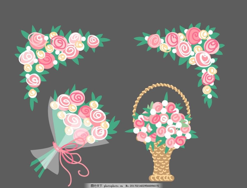 花束 花篮 卡通素材 可爱 手绘素材 儿童素材 幼儿园素材 矢量