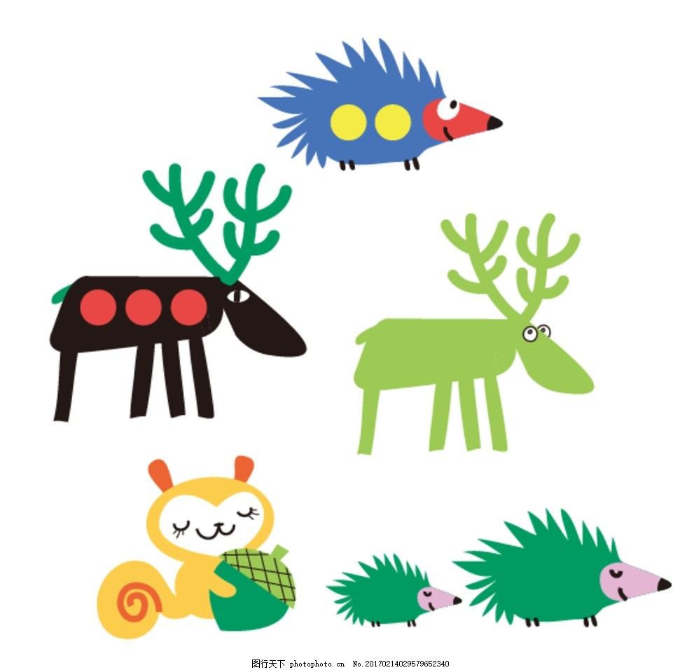 刺猬 麋鹿 松鼠 卡通素材 可爱 素材 手绘素材 儿童素材 幼儿园素材