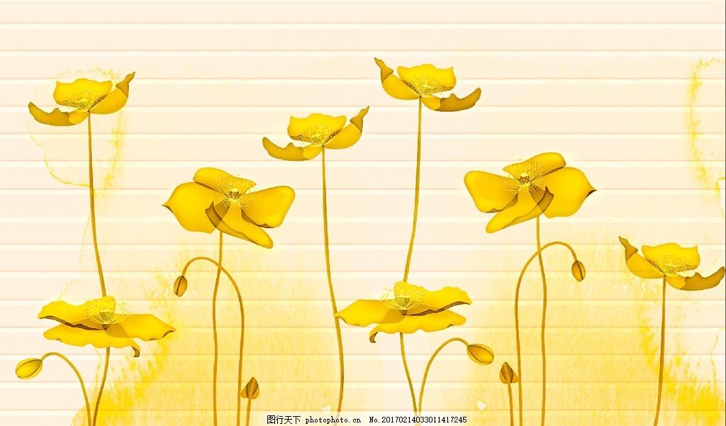 水墨莲花横条背景墙
