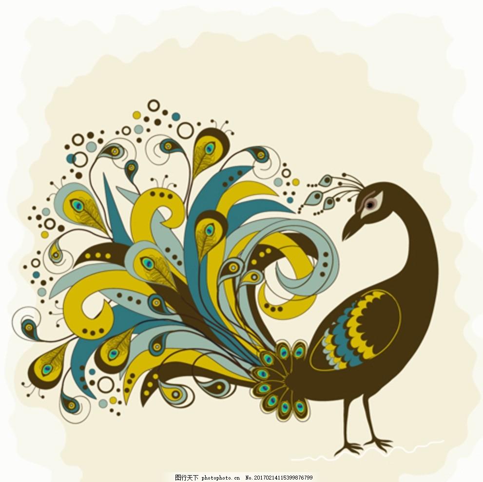 卡通孔雀 孔雀图片 美丽孔雀 卡通动物 矢量 卡通设计 设计 广告设计