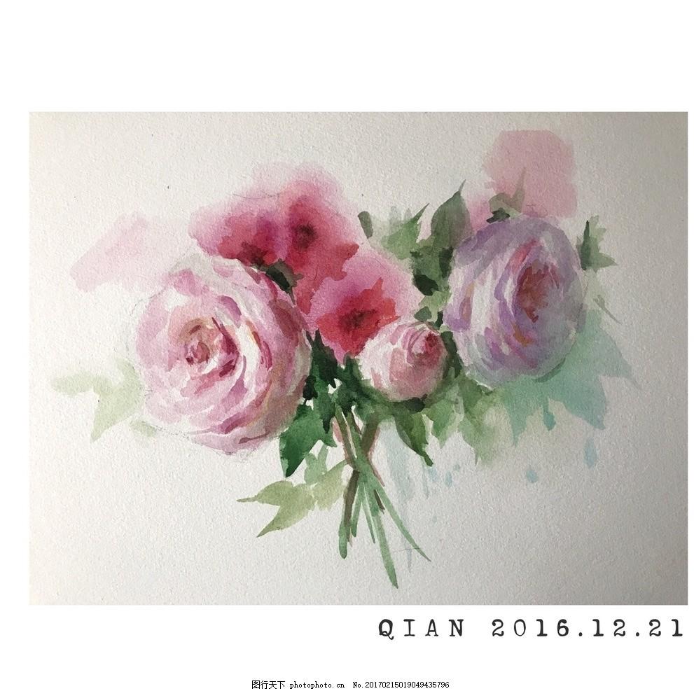 水彩 水彩画 花卉 静物 永山裕子 花朵 手绘 绘画 画画 水彩花卉 设计