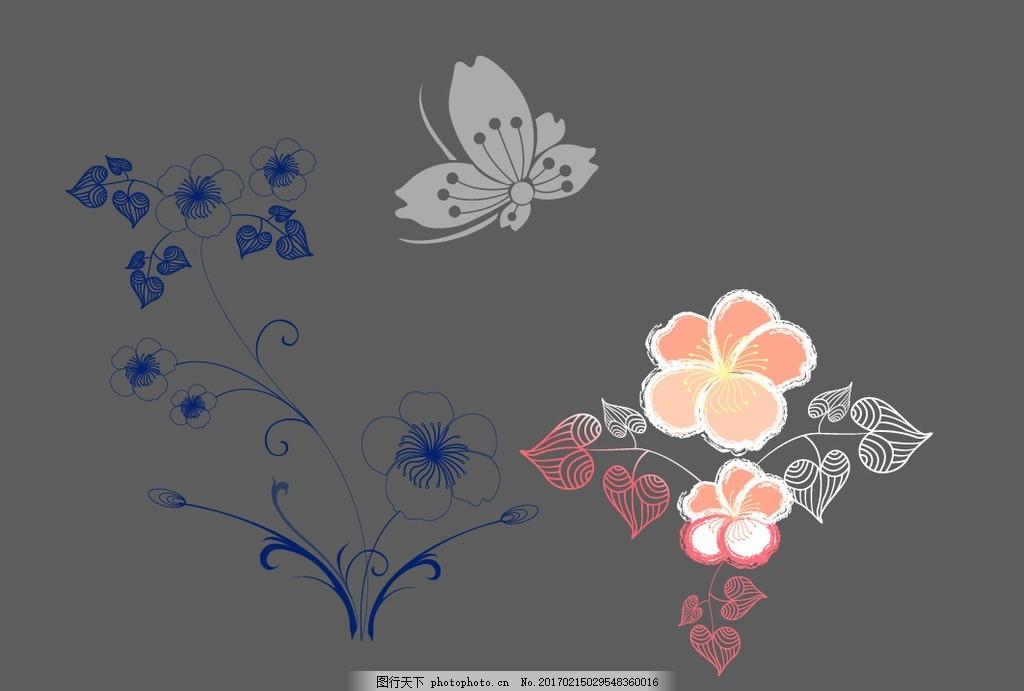 线条花朵 蝴蝶 可爱 手绘素材 卡通装饰素材 矢量图 卡通 矢量 抽象