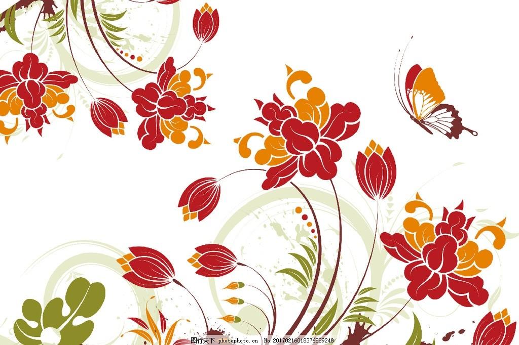 唯美花朵背景墙 精美花朵 欧式花朵 花边花纹 手绘花朵 电视背景墙