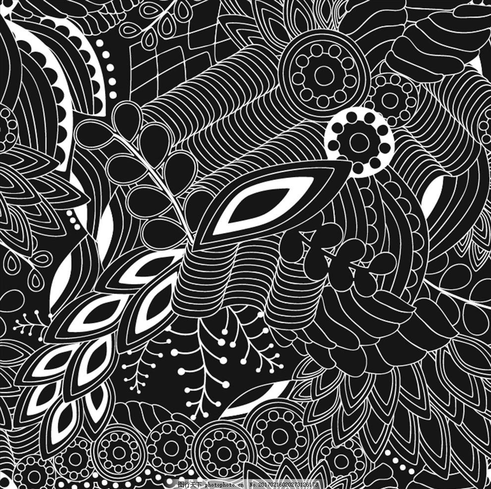 黑白线条工笔画