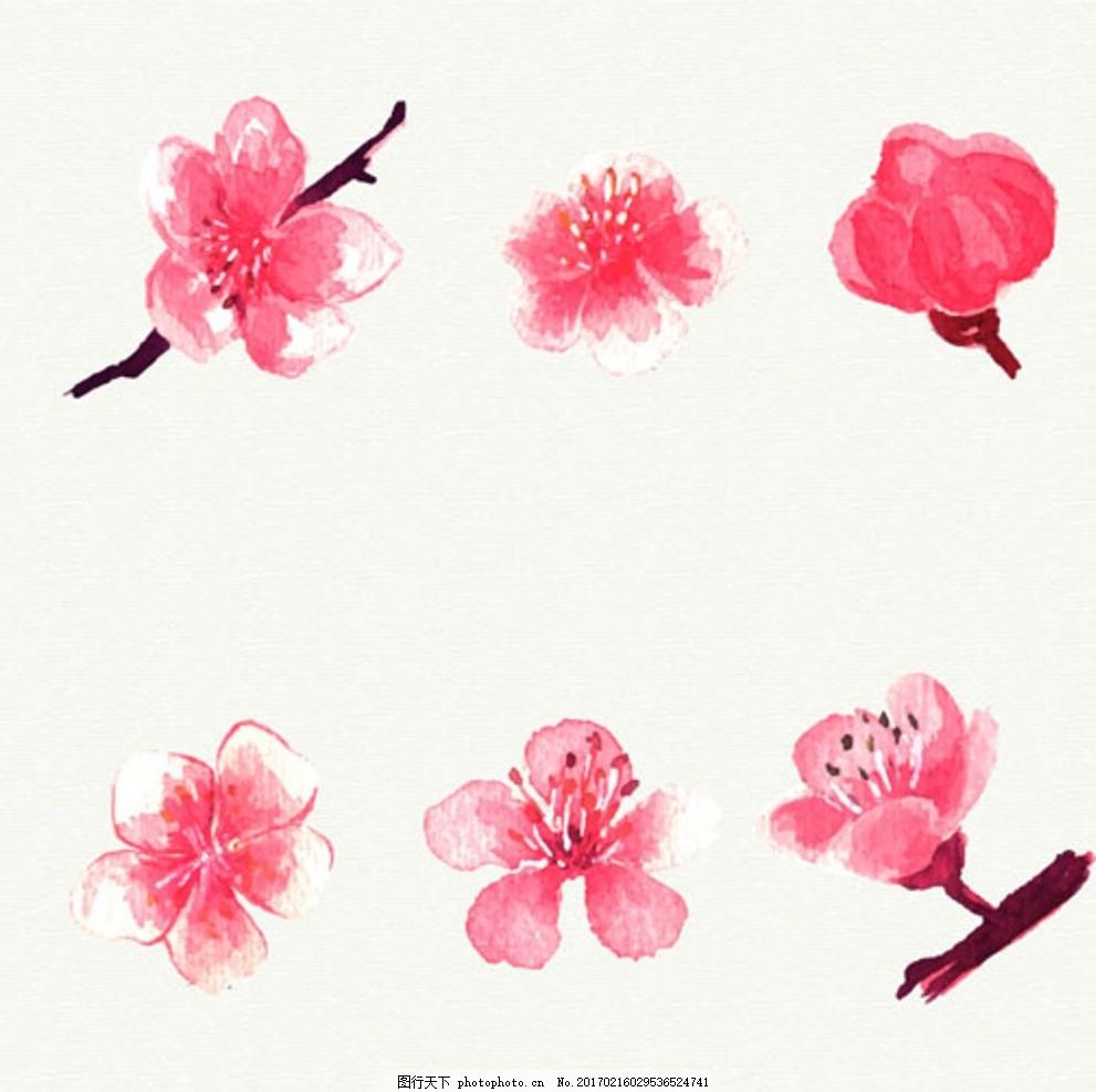 六朵手绘水彩樱花 春暖花开 春季促销 春季促销海报 春季大促销