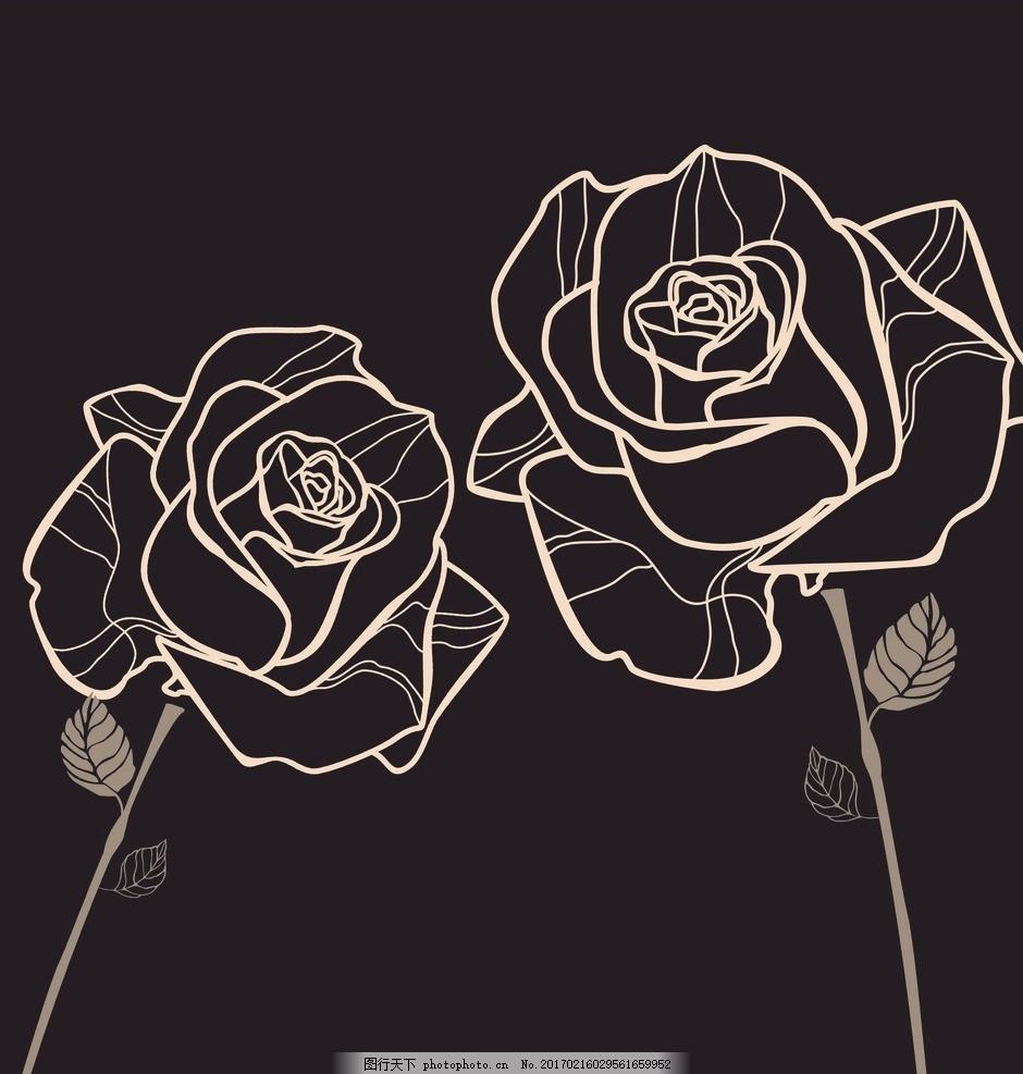 线条 玫瑰花卉 欧式古典 手绘玫瑰 复古花卉 复古风格 怀旧 植物 插画