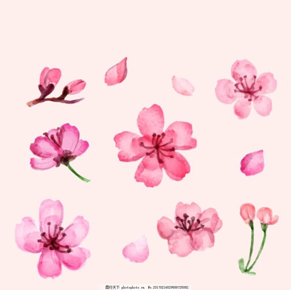 手绘水彩樱花插图 春暖花开 春季促销 春季促销海报 春季大促销