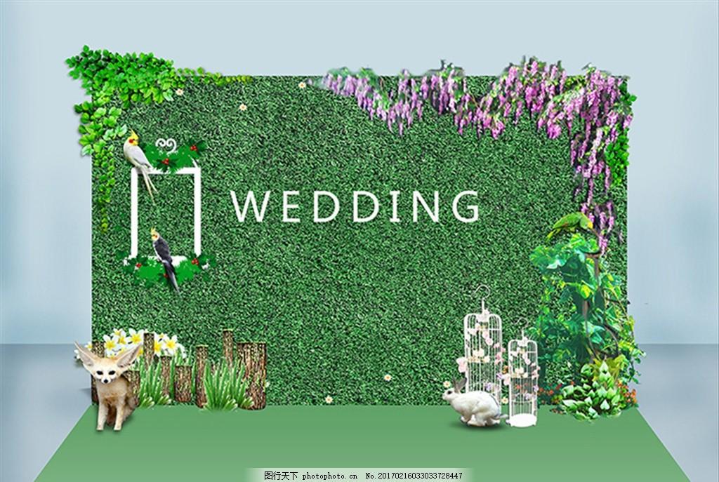 签到区 结婚 森系 绿色 布置 源文件 婚礼签到区 婚礼签到台 西式欧式
