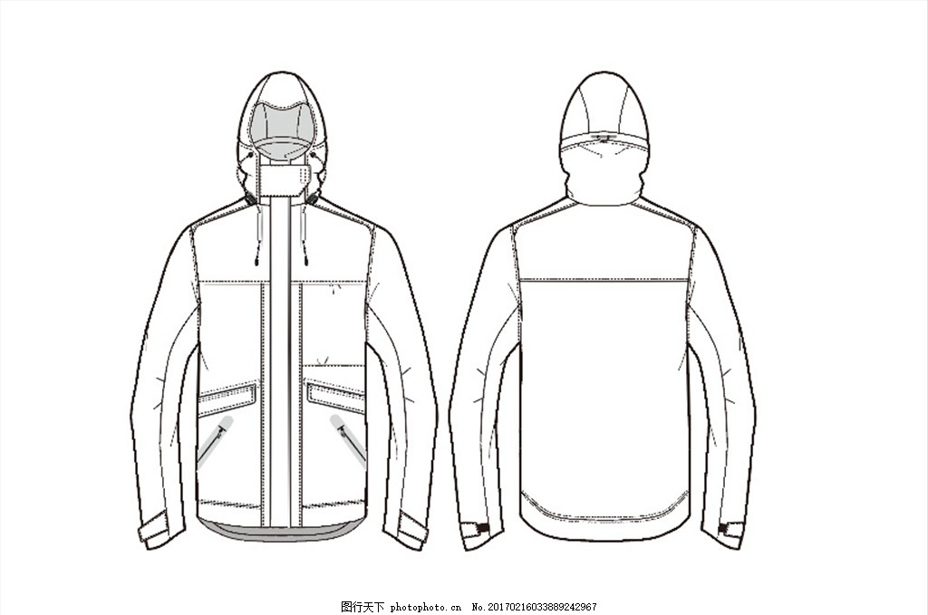 服装设计 服装款式图 运动服 户外 冲锋衣 设计 其他 图片素材 ai