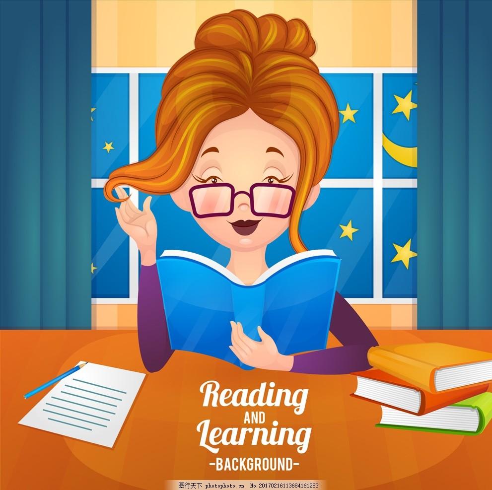 老师矢量图 长发美女 窗户 带眼镜的老师 卡通 人物形象设计 动画人物