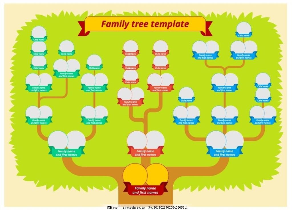 家庭树 族谱 树木 英文 绿色 模板 横幅 花草树木 生物世界