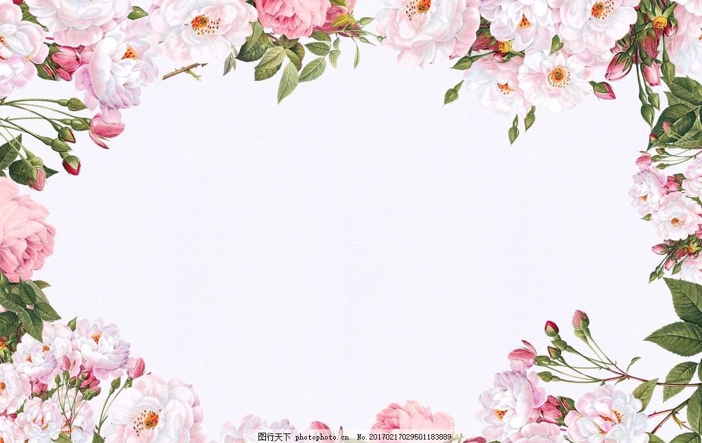 素材 欧式花朵 复古花朵 水彩花朵 花朵卡片 花朵贺卡 花朵花卉边框