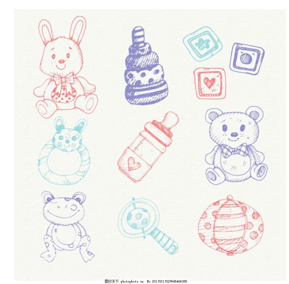手绘彩色母婴宝宝元素 宝宝 宝贝 婴儿 儿童 孩子 幼儿园 小学生 中学