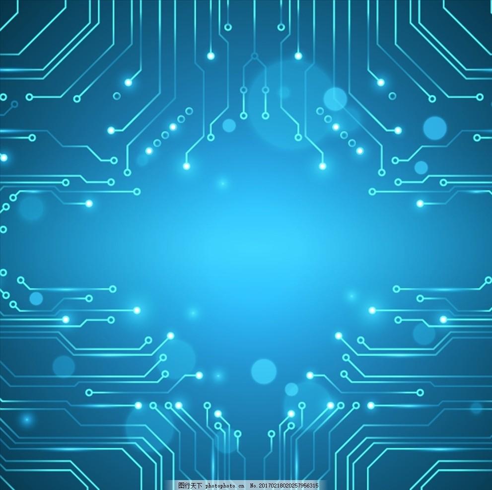 蓝色电路板科技背景