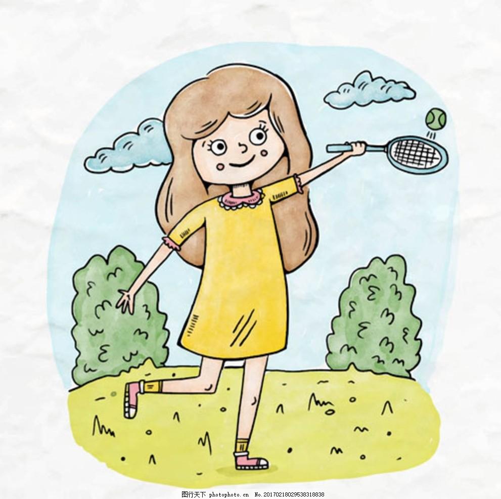 手绘儿童节打网球的女孩子 宝宝 宝贝 婴儿 儿童 孩子 幼儿园 小学生