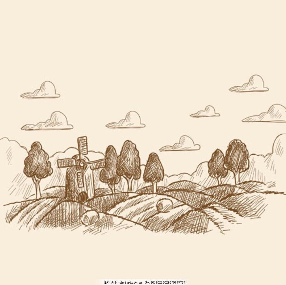 ai手绘素材 矢量图 田野 美景 乡下 农村 线描 树 港口 风车 云朵