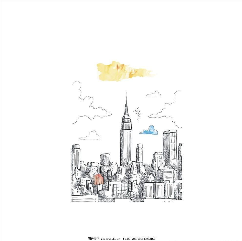 手绘纽约城市建筑群